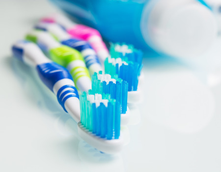 toothbrush on a white table Stock Photo