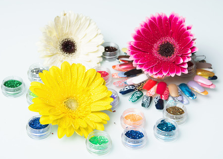 manicure set: brightly colored flower manicure set Stock Photo