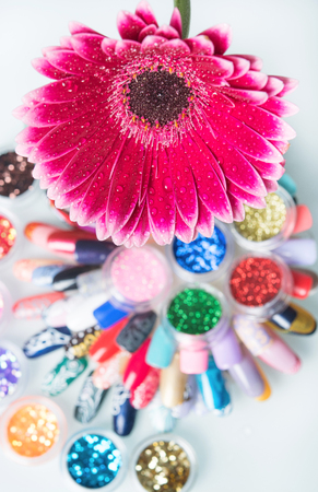 great set of nail polishes with flower