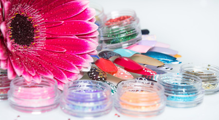 manicure set: manicure set on a glass table