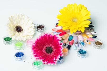 manicure set: three brightly colored flower manicure set