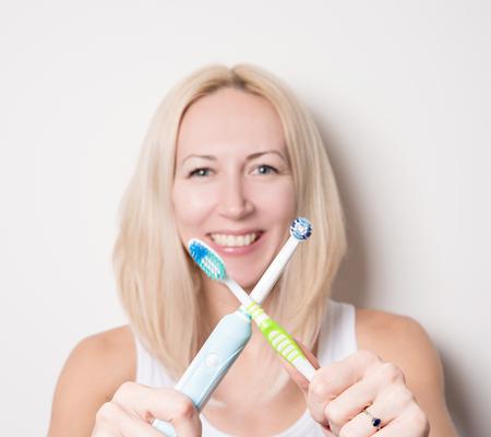 nice girl with toothbrush