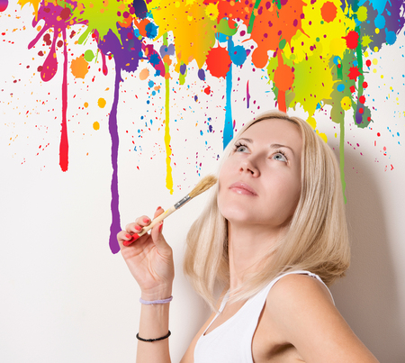 beautiful woman in the midst of colorful streaks