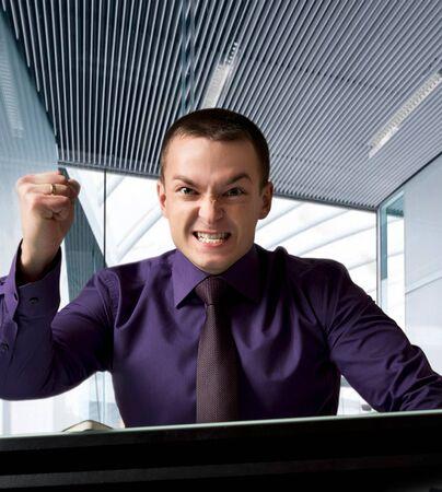 yells: leader yells at the meeting Stock Photo