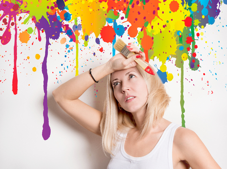 woman in the midst of colorful streaks Stock Photo