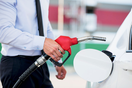 fuelling pump: gas station white vehicle with quality fuel Stock Photo