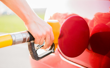 gas station fuel red car Stock Photo