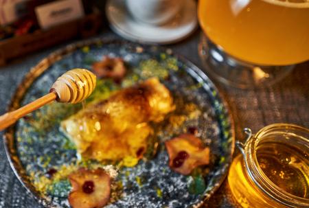 sweet pancakes with tea 写真素材