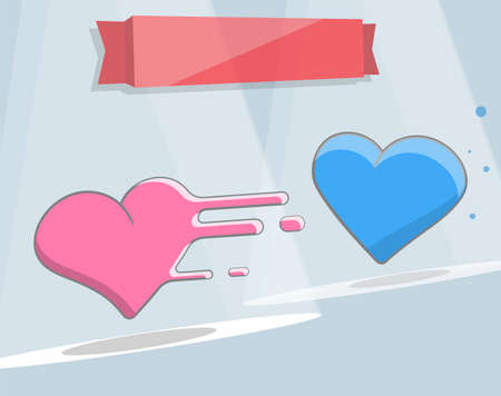 hot couple: illustration of two hearts. Cartoon style for print and web design.