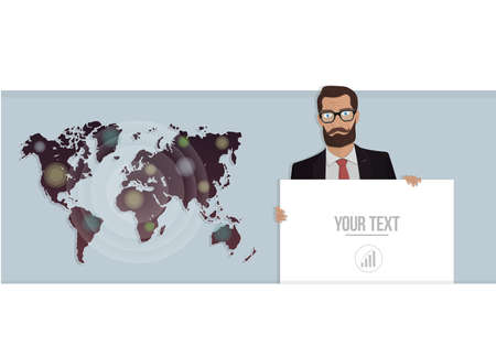 manos unidas: Businessman with a poster and map of the world. Vector illustration for website.
