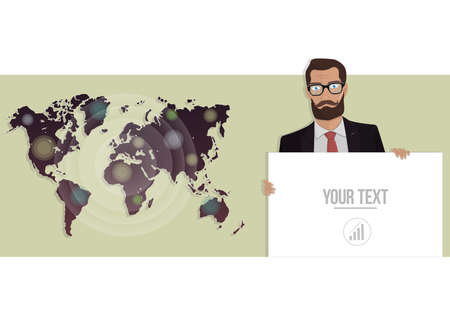 manos unidas: Businessman with a board and map of the world. Vector illustration for website.