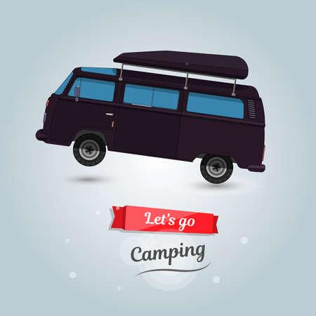 minivan: Lets go camping, tourists travel by car. Funny cartoon minivan.