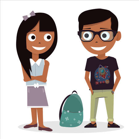 Boy and girl isolated on white background. First love at school. Vector illustration of Valentines Day. Characters schoolchildren.