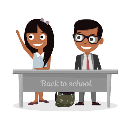 Schoolgirl and schoolboy sitting at Desk and raise my hand in class.