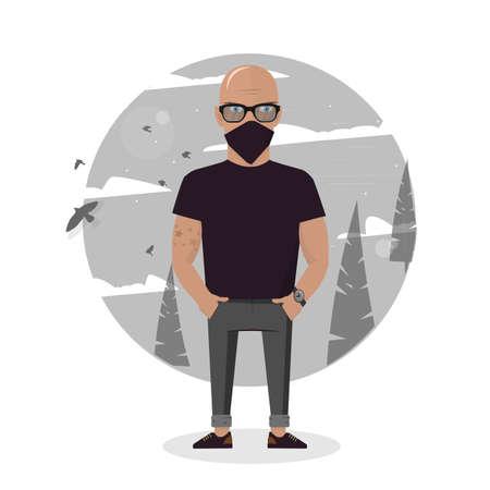 Cartoon thief in black mask. Bad man vector illustration. Ilustrace
