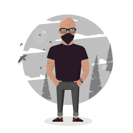 Cartoon thief in black mask. Bad man vector illustration. Illustration