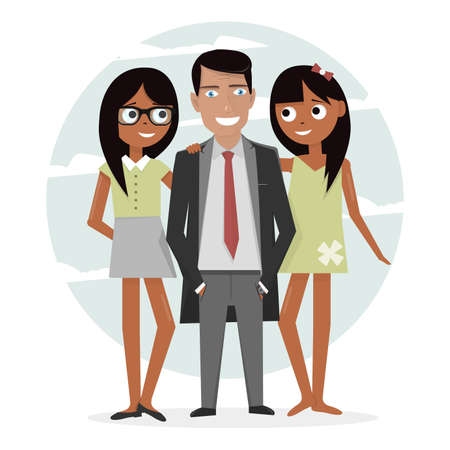 playboy: Man surrounded by two beautiful girls. Successful businessman in a suit, macho and handsome. Attractive guy on vacation. Illustration