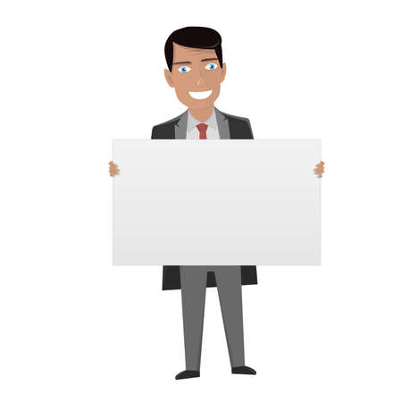 lawer: White Board for business. Man in the suit holding blank sign.