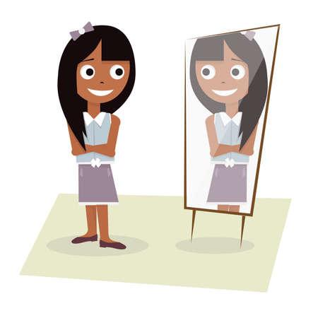 Illustratie van een jong meisje staat voor de spiegel.