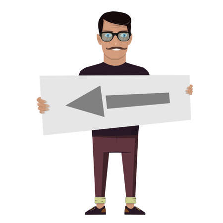 Happy man holding a pointer. Flat vector clip art on white background.