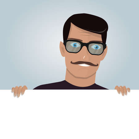 peek: Cartoon man and blank paper for web site, user interface, mobile app. Peeking from top side of a white copy space. Illustration
