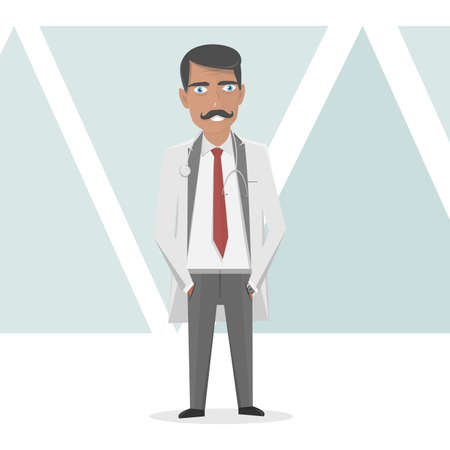 trainee: Doctor in a white lab coat for medical staff. Illustration