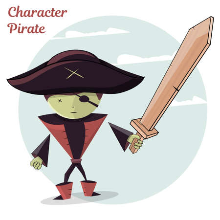 Cartoon kids character pirate. Vector illustration, isolated on white background.