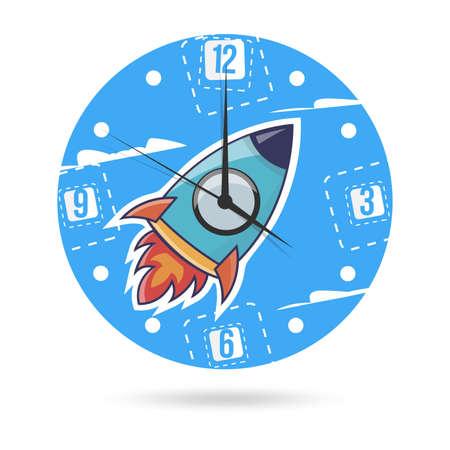 Niños ilustración dial plate. Reloj con un cohete.