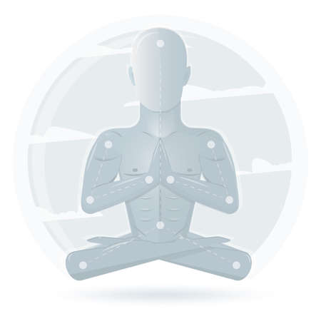 yoga meditation: Meditation man isolated on white background. Cartoon meditation character, vector yoga flat design. Meditation pose illustration.