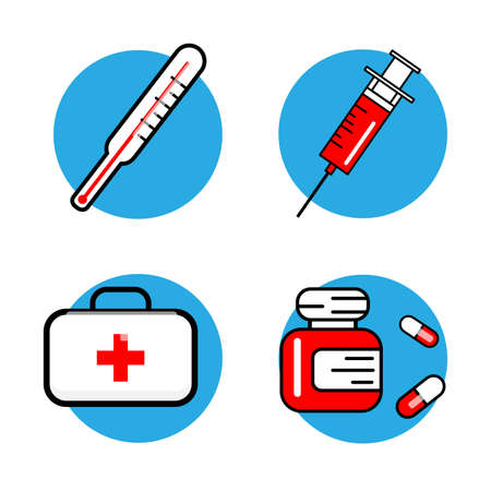 laboratory equipment: Medicine and Health symbols. Thin lines web icon set. Vector illustration white background.
