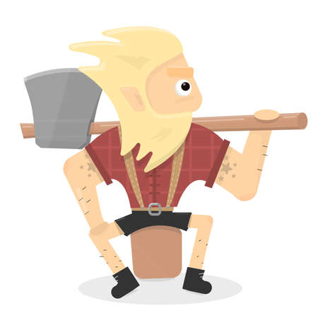 Lumberjack illustration. Cartoon character is a brutal man with an axe sitting on a stump.