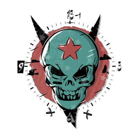 Evil skull with a star on his forehead. Gothic watch, clock design dial plate. Vector illustration art in tattoo style.