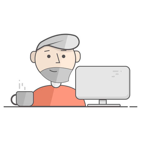 Vector flat illustration of happy man working on computer. Business process icon. Illustration for blog, social networks and web site. Illustration