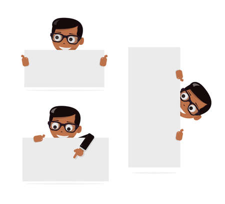 Set cartoon boy and blank paper for website, user interface, mobile app. Peeking from top side of a white copy space.