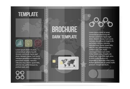 黒のテンプレートパンフレット、ビジネスクールなデザイン。銀行と信用機関のために。  イラスト・ベクター素材