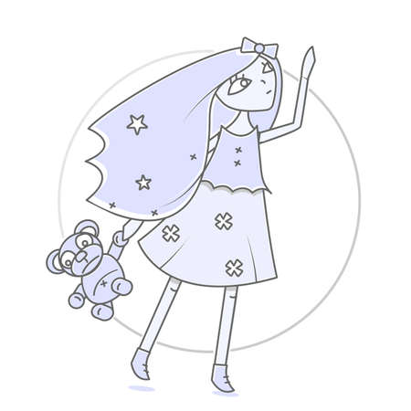 Glamorous girl with a teddy bear in hand. Modern illustration for books and magazines. Stretches towards the sky. Illustration