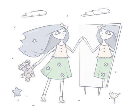 Happy young girl standing in front of a mirror. Illustration on white background.
