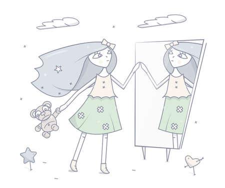 Gelukkig jong meisje dat zich voor een spiegel bevindt. Illustratie op witte achtergrond.