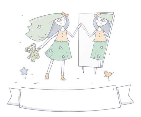 Het jonge gelukkige meisje met in hand Teddybeer, bevindt zich vóór de spiegel. Het karakter van de beeldverhaalmanier, vectorillustratie.