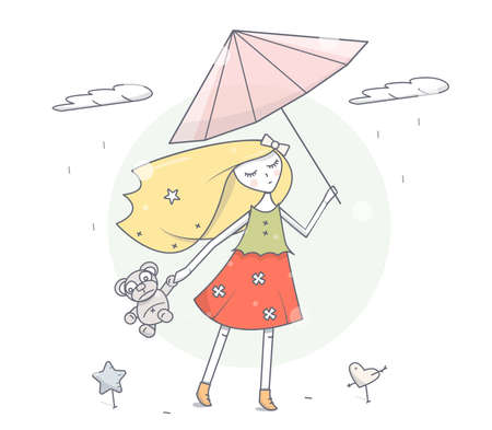 Girl with umbrella under the rain. Simple modern fashion design. Cartoon character vector illustration. Illustration