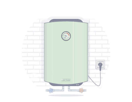Water heater electric. Illustrations for the online store of plumbing. Vectores