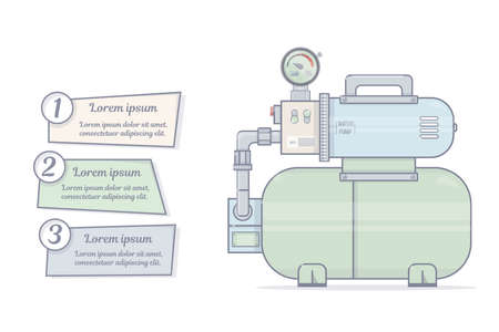 Pumping station. For online store of plumbing. Cartoon style.