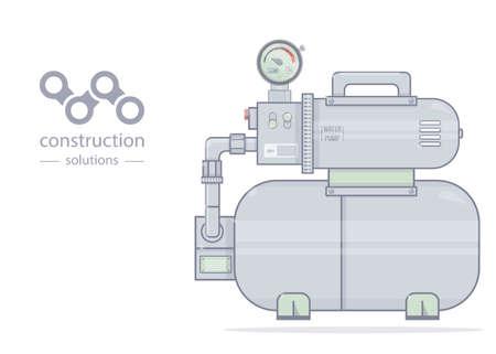 Bomba de agua. Ilustración de la estación de bombeo. Para la tienda en línea de fontanería. Estilo de dibujos animados Foto de archivo - 90238286