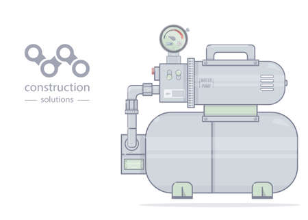 Water pump. Illustration pumping station. For online store of plumbing. Cartoon style.
