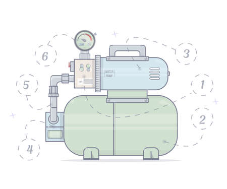 Illustration pumping station. For online store of plumbing. Cartoon style. Illustration