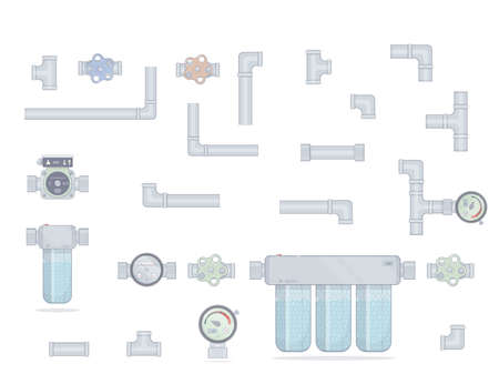 Filtro de água. Três módulos de limpeza. Definir tubos. Medidor de água, torneira e bomba. Isolado no fundo branco.