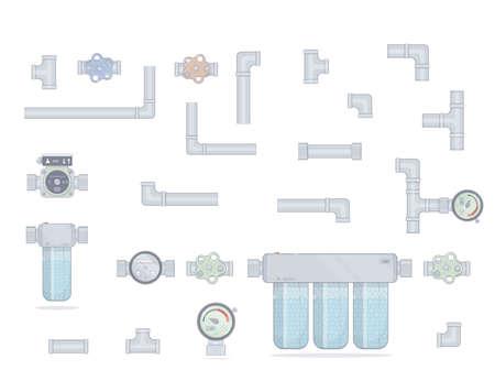 Water Filter. Drie modules schoonmaken. Stel buizen in. Watermeter, kraan en pomp. Geïsoleerd op witte achtergrond Stockfoto - 91017896