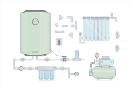 Set water heater electric. Illustrations for the online store of plumbing. Stock Photo