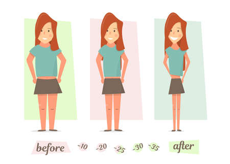 Women thick and thin. Before and after weight loss.