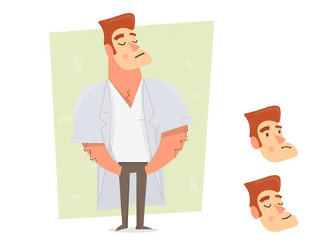 Sports guy character constructor. Cartoon character in a white coat. Man creation set. Illustration